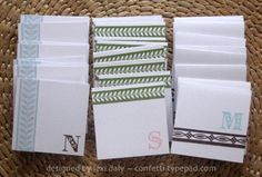 monogrammed 3 x 3 mini cards - stamps + ribbon