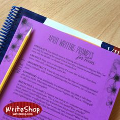 Teen April writing prompt calendar