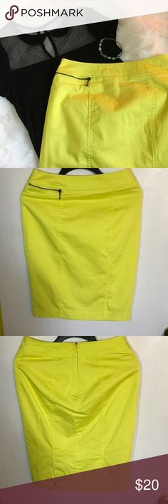 Citron Pencil Skirt EUC. Citron skirt with princess seams and bronze zippered 'faux' pocket and a citron back zipper. (There is a loose string by the back zipper.) Runs a little small, fits closer to a 4. Feel free to make an offer! Mossimo Supply Co. Skirts Pencil