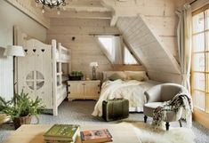 Excellent Wooden House Designed Earthy and Captivatingly: Loft ceilings small bedroom decorating with chic vintage wooden walls and floor and furniture designs with comfortable bed and green head pillows