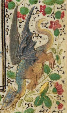 A dragon detail from Saint John on Patmos, Lieven van Lathem, 1469.