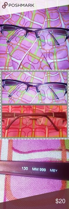 Max Mara   Titanium glasses Burgundy frames with 4 crystals on handles  right lens has scratch flaws shown in pic priced to sell MaxMara Accessories Glasses