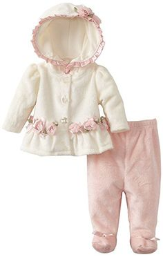 Vitamins Baby-girls Newborn 2 Piece Rosette Footed Pant Set, Ivory, 0-3 Months