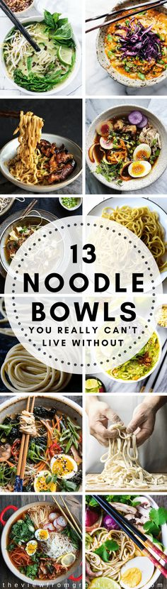 15 Noodle Bowls You Can't Live Without ~  colorful, healthy toppings make these the 15 Asian noodle bowls you really do need in your life. #noodles #asian #noodlebowl #bibimbap #pho #ramen #soup #bonebroth #japanese #chinese Thai #vietnamese #padthai #ricenoodles #glutenfree #vegan #vegetarian #broth #soba #udon #chowmein via @https://www.pinterest.com/slmoran21/