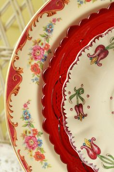 Vintage tableware mismatched dishes by FancifulTableware on Etsy, $39.00