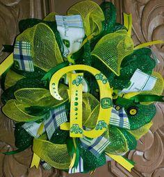 "John Deere 12"" mesh wreath $22 by Fit to Be Tied Designs on Facebook"