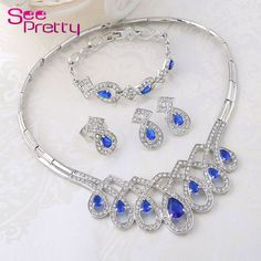 Fashion silver-plated jewelry Blue Crystal Jewelry Women Bridal Wedding Party Jewelry Set vintage dubai silver jewelry set A319 www.bernysjewels.com #bernysjewels #jewels #jewelry #nice #bags