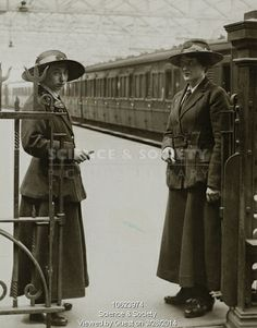 Ticket collectors at Waterloo station, about Women ticket collectors on the London & South Western Railway, at Waterloo station, abou. London History, British History, American History, Native American, Vintage London, Old London, World War One, First World, Old Pictures