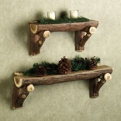 Rustic Timber Log Wall shelf (Cabin, cottage, country, woods)