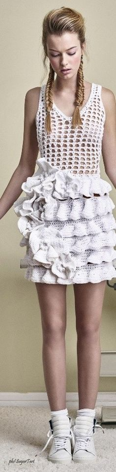 Fashion trend: layers of shallow knit, felt, or crochet ruffles.  Ruffled crochet dress by Alfredo Villalba Spring/Summer 2016