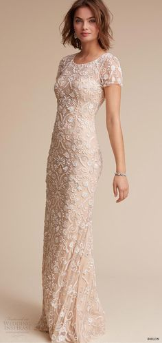 BHLDN 2017 (essex) short sleeves jewel neck sheath column fully beaded wedding dress mv