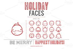 Check out Holiday Faces (Vector) by LaRue & Company on Creative Market http://crtv.mk/iOQI
