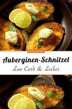 - Auberginen-Schnitzel Eggplant schnitzel: crispy low-carb delight from the pan. Veggie Recipes, Vegetarian Recipes, Healthy Recipes, No Calorie Foods, Low Calorie Recipes, Cooker Recipes, Crockpot Recipes, Evening Meals, Eat Smarter