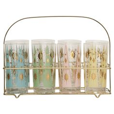 The perfect summer accessory: 1960s lemonade glasses with a caddy!