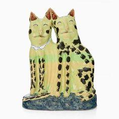 Twin Green Spotty Cats by Hylton Nel