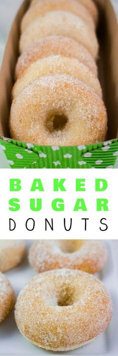 Homemade Baked Sugar Donuts recipe that is easy to make and ready in 15 minutes…. Homemade Baked Sugar Donuts recipe that is easy to make and ready in 15 minutes. These simple and extra soft donuts taste just like sugar donuts from your favorite bakery! Brownie Desserts, Great Desserts, Delicious Desserts, Dessert Recipes, Yummy Food, Yummy Eats, Healthy Desserts, Cake Recipes, Healthy Recipes