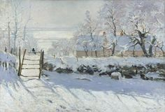 """""""The Magpie"""" is an oil-on-canvas landscape painting by the French Impressionist Claude Monet, created during the winter of 1868–1869 near the commune of Étretat in Normandy. (Wikipedia)"""
