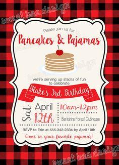 Pancakes and pajamas birthday party invitation printable rise and pancake birthday invitation pancakes and pajamas birthday invitation winter birthday party pajamas birthday invitation pajamas plaid filmwisefo