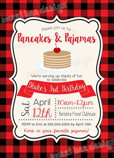 Pancake breakfast invitation birthday invitations pinterest pancake birthday invitation pancakes and pajamas birthday invitation winter filmwisefo Gallery