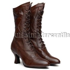 Victorian Shoes Cognac brown kidskin Victorian granny boots 6-11 $134.84 AT vintagedancer.com