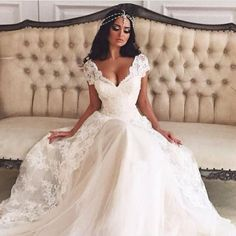 ASDRESS Hot Sale New Sexy V-Neck Lace Bridal Gown Wedding Dress Custom 6 8 10 12 14 16 18 20 22