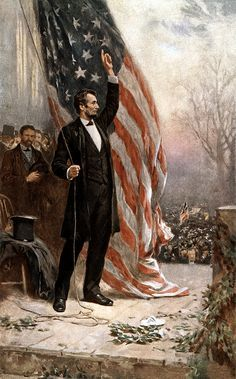 This vintage American Civil War painting features President Abraham Lincoln, holding the American flag, as he speaks before a crowd.