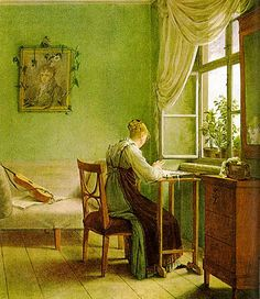 kerst  calm green space  summer coming in the window  letter writing  plants/instrument  regency style undress (serviceable day dress and apron)