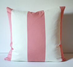 Designer Light Watermelon or Salmon Pink and Ivory Stripe 18x18 Decorative Throw Toss Pillow Cover great for a Bedroom, Sofa or Beach House