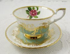 Paragon Green Tea Cup and Saucer with Gold Decor and Flower, Vintage Tea Cup…