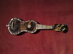 Victorian Miniature Guitar Faux Tortoiseshell Mother of Pearl Bone Inlaid