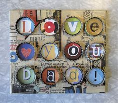 """Pop"" art, fun Father's day gift idea, CD case decoupaged with comic books and decorated with soda-pop bottle caps and magazine letters. Copyright Pamela Maxwell 2013"