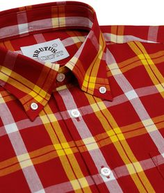 Brutus Trimfit - Brick Red Check Short Sleeve Shirt