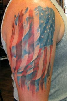 Watercolor american flag tattoo on shoulder.I think I would like this more if the stars were brighter Great Tattoos, Small Tattoos, Beautiful Tattoos, Army Wife Tattoos, Patriotic Tattoos, Flag Tattoos, Tatoos, Watercolor Tattoo Artists, American Tattoos