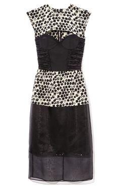 Paint Dot Print Crepe De Chine Bustier Dress by Peter Som for Preorder on Moda Operandi