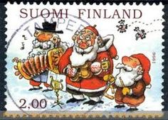 Christmas stamp from 1996 in Finland with Mauri Kunnas´s picture.