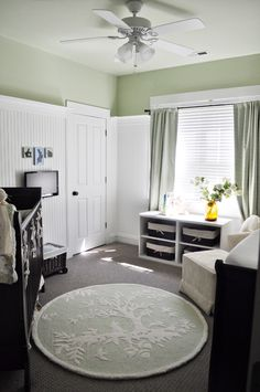 nursery. Love how clean yet soft all the colors look. Yes to the crib, and the awesome chair for nursing.