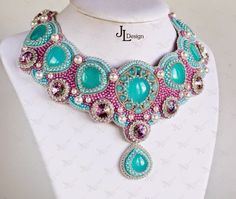 Beadwork and embroidered jewelry by Julia of JuliaDesignShop on Etsy