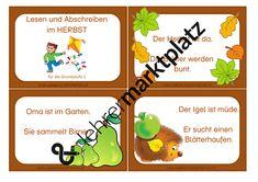 abschreibkarten: herbst- flunkerei | grundschule, lesen lernen 1 klasse, deutsche schule