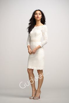 boat neck white lace short sheath bridesmaid dress with 3/4 length sleeves. rehearsal dinner?