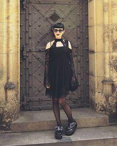 I finally have enough time to post photos from Prague - one of the most beautiful gothic cities.  ♥🌙♥  .  Wearing @killstarco and @demonia.shoes.  .  #goth #gothic #prague #gothsinprague #instagoth #gothfashion #casualgoth #sightseeing #stvituscathedral #gothlife #gothtourist #gothbeauty #praguecastle #killstarsco #killstar #demoniashoes #bats