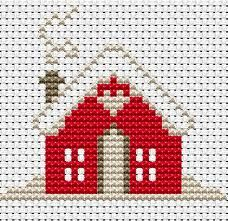 House in the winter cross stitch pattern