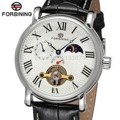 45.00$  Buy here - http://alilv9.shopchina.info/go.php?t=32325049313 - FSG800M3S5 new product for  Automatic watch with moon phase black genuine leather strap gift box free shipping fashion watch 45.00$ #magazineonlinewebsite