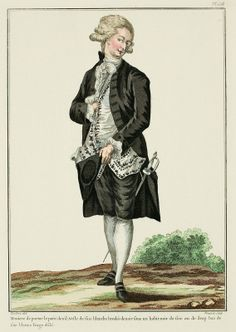 Manner of wearing informal mourning.  Vest of white silk embroidered with black, under a black coat of silk or wool.  Stockings of white silk.  Fringed linen. (1781).  A Most Beguiling Accomplishment: Galerie des Modes