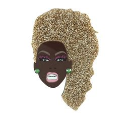 Everybody say LOVE! THE greatest drag icon of all time Ru Paul. With gold glitter hair, purple glitter eyeshadow, pink mirror lips and green swarovski ear-rings, she is beat to the GODS! Measures: 9.5cm tall. Shes a total glamazon! All my jewellery is handmade and packed in a