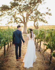 winery wedding; back view of walking