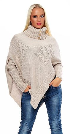Beige knit chunky poncho sweater cape for women hand knitted Alpaca Poncho, Poncho Sweater, Knitted Poncho, Alpaca Wool, Cardigan Pattern, Pullover Hoodie, Sweatshirt, Pullover Outfits, Neue Outfits