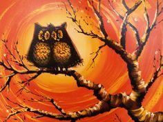 images of mid century paintings orange | ... Mid Century Modern Oil Painting // Owl Oil Painting // Owl Art Work
