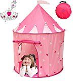 Kiddey Princess Castle Play Tent (Pink) â? WITH FREE BONUS  With Glow in the Dark Stars â? Indoor/Outdoor Playhouse for Girls With Have Case for Easy Travel plus Storage. Great Gift Idea