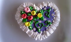 Decorated Sugar Cookie Heart with lace and flowers