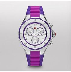 Tahitian Jelly Bean, Purple Colorblock  Tahitian Jelly Beans by MICHELE feature a hint of playful luxury in an irresistible range of colors. With a chronograph movement, bolder dial size, and a sporty strap and bezel, these timepieces are as undeniably fun as they are luxurious.